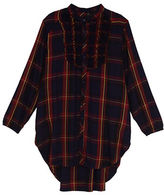 Melissa McCarthy Plus Tuxedo Ruffle High-Low Long Sleeve Button Down Shirt