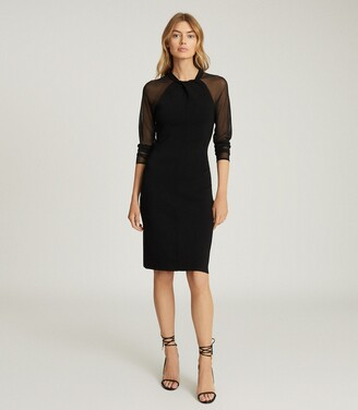 Reiss Tula - Bodycon Dress With Semi Sheer Sleeves in Black