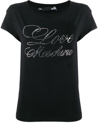 Love Moschino rhinestone logo T-shirt