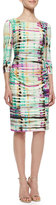 Kay Unger New York Ruched-Front Sheath Dress, Multi