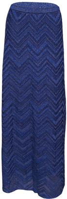 M Missoni Navy Blue Lurex Knit Chevron Pattern Maxi Skirt M