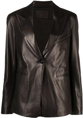 Drome Single-Breasted Leather Blazer