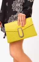 PrettyLittleThing Yellow Chain Clasp Snakeskin Clutch