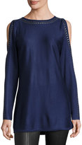 Neiman Marcus Embellished-Trim Cold-Shoulder Tunic, Blue