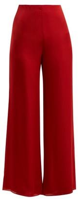 The Row Kiola Silk-charmeuse Wide-leg Trousers - Womens - Red