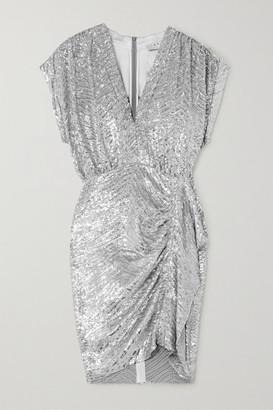 IRO Sagria Draped Sequined Jersey Mini Dress - Silver