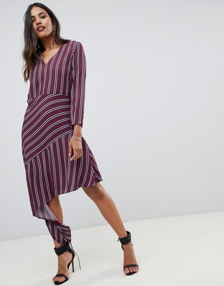 Y.A.S stripe midi dress with asymmetric hem