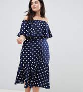 Influence Plus Polka Dot Bardot Midi Dress