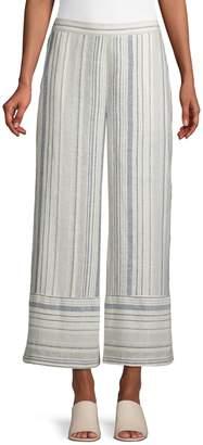 Lord & Taylor Wide Leg Linen-Blend Stripe Pants