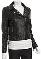 black faux leather studded zip moto jacket