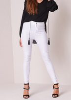 Missy Empire Odina White High Waisted Skinny Jeans