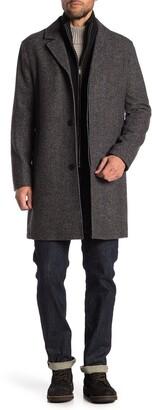 Cole Haan Wool Blend Leather Trim Bib Insert Coat
