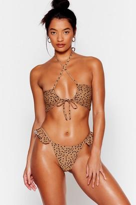 Nasty Gal Womens Spot to Go Tie Ruffled Bikini Bottoms - Brown - 14, Brown