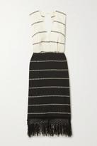 Jaline - Yalitza Open-back Fringed Striped Cotton-gauze Midi Dress - Black