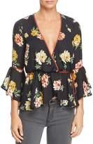 June & Hudson Floral Wrap Top