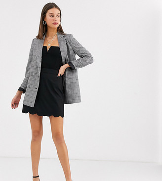 Asos Tall DESIGN Tall tailored a-line mini skirt with scallop hem-Black