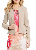 Calvin Klein Petites Stretch Cotton Sateen Suiting Zip Front Jacket