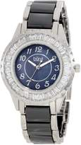 Burgi Women's BUR066BK Ceramic Bracelet Baguette Quartz Watch