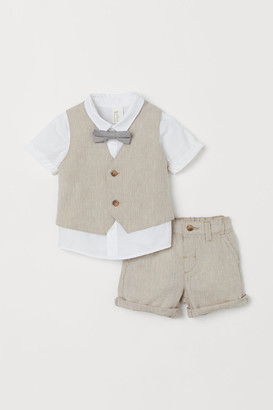 H&M 4-piece Linen-blend Set - Brown