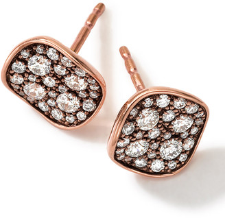 Ippolita 18k Rose Gold Pave 2-Disc Earrings with Diamonds