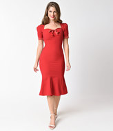 Stop Staring 1940s Red & Dotted Short Sleeve Argentine Stretch Wiggle Dress