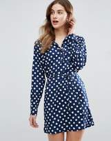 Vila Shirt Dress In Polka Dot Print