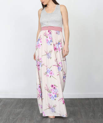 Egs By Eloges egs by eloges Women's Maxi Dresses GREY - Gray & Pink Floral & Stripe Sleeveless Maxi Dress - Women & Plus