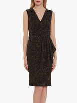 Gina Bacconi Gina Baccni Goretti Floral Metallic Crepe Dress, Black/Gold
