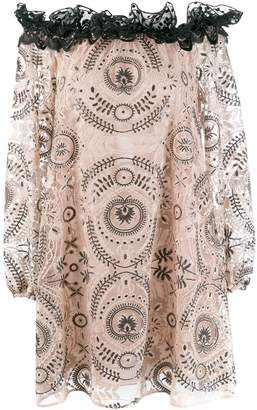 Giamba embroidered off the shoulder dress