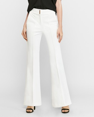 Express High Waisted Gold Button Ribbed Flare Pant