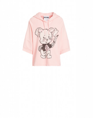 Moschino Don't Call Me Cute Cotton Sweatshirt Woman Pink Size 36 It - (2 Us)