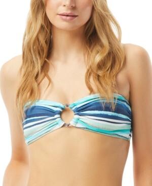 Carmen Marc Valvo Striped Ring-Front Bandeau Bikini Top Women's Swimsuit