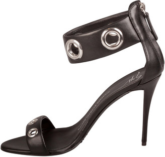 Giuseppe Zanotti Black Leather Eyelet Ankle Strap Sandals Size 38