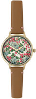 Cath Kidston Sketched Rose Leather Strap Round Watch