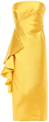 Sachin + Babi Strapless Ruffled Satin-twill Midi Dress