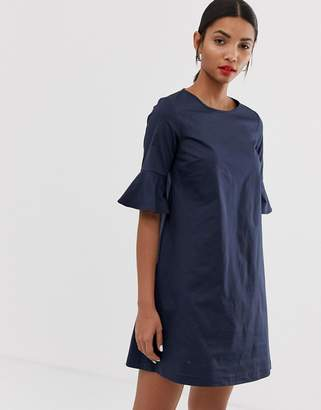 Max & Co. cotton shift dress with fluted sleeve-Navy