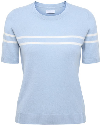 2nd Day 2ND Mila short sleeve cashmere sweater pale blue with white stripes - SMALL - Blue