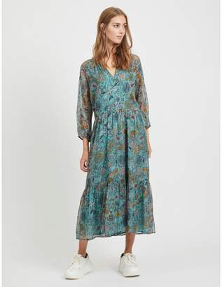 Vila Long Tunisian Collar Midi Dress in Metallic Floral Print