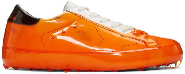 Golden Goose Orange Skate Dip Superstar Sneakers