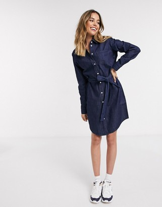 JDY Esra denim tie waist shirt dress