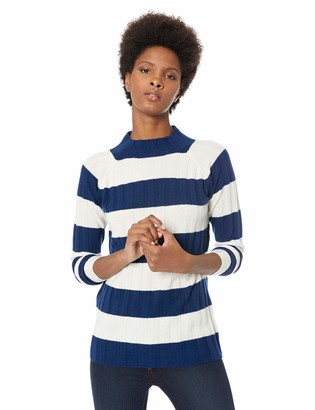 Lark & Ro Amazon Brand Women's Sweaters Mock Neck Striped Cashmere Sweater