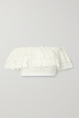 Charo Ruiz Ibiza Barbara Off-the-shoulder Cropped Broderie Anglaise Cotton-blend Top - White