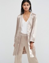 Asos Longline Pajama Blazer with Piping Detail