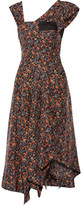 Isabel Marant Rocky Asymmetric Printed Silk-voile Midi Dress - Midnight blue
