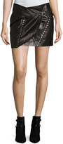 IRO Mupper Studded Leather Wrap Mini Skirt