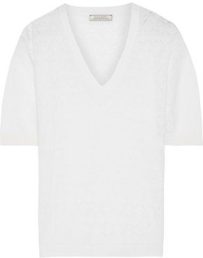 Nina Ricci Pointelle-knit Wool And Cashmere-blend Top