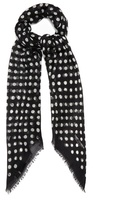 Saint Laurent Polka-dot print cashmere-blend scarf