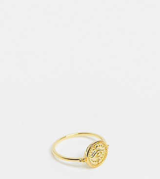 Reclaimed Vintage sterling silver skinny gold plated skinny ring with coin eye detail