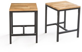La Redoute Interieurs Hiba Stools in Solid Oak and Steel, Set of 2