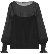 The Row Laver Crinkled Silk-chiffon Blouse - Black